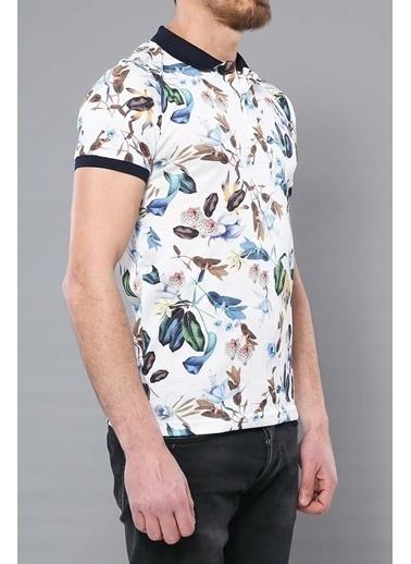 Wessi Polo Yaka Desenli T-Shirt Beyaz